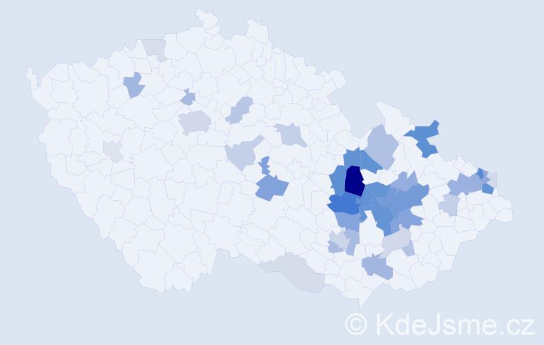Příjmení: 'Dospiva', počet výskytů 107 v celé ČR