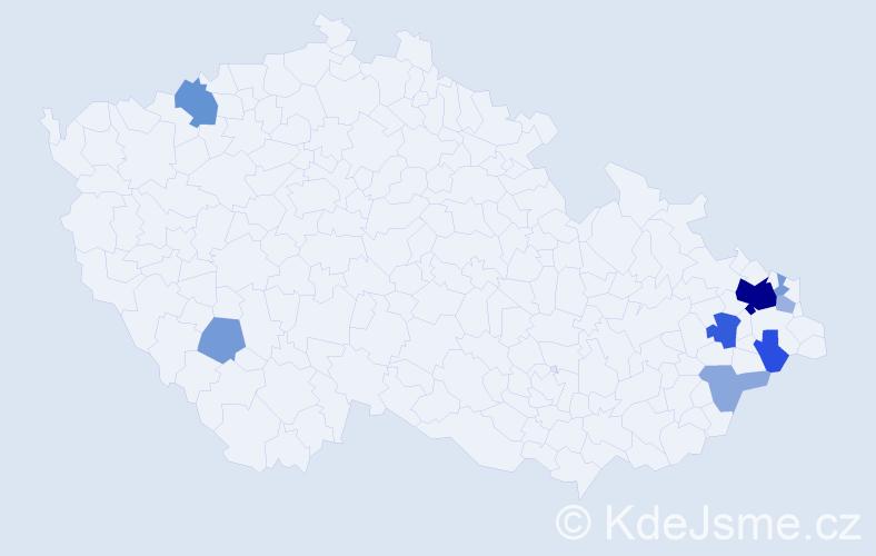 Příjmení: 'Boldezerská', počet výskytů 23 v celé ČR