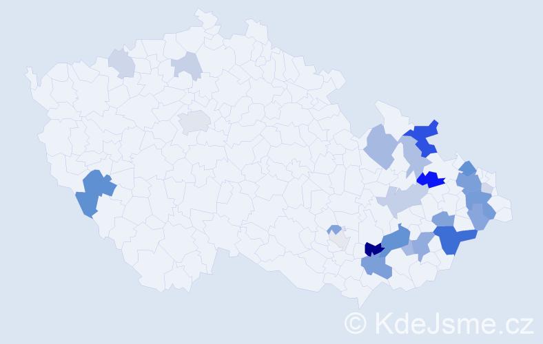 Příjmení: 'Čihánek', počet výskytů 69 v celé ČR