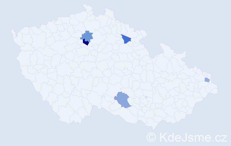 Příjmení: 'Cieslaková', počet výskytů 6 v celé ČR