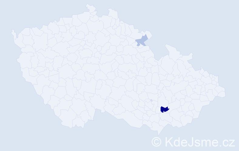 Příjmení: 'Vavřin', počet výskytů 3 v celé ČR
