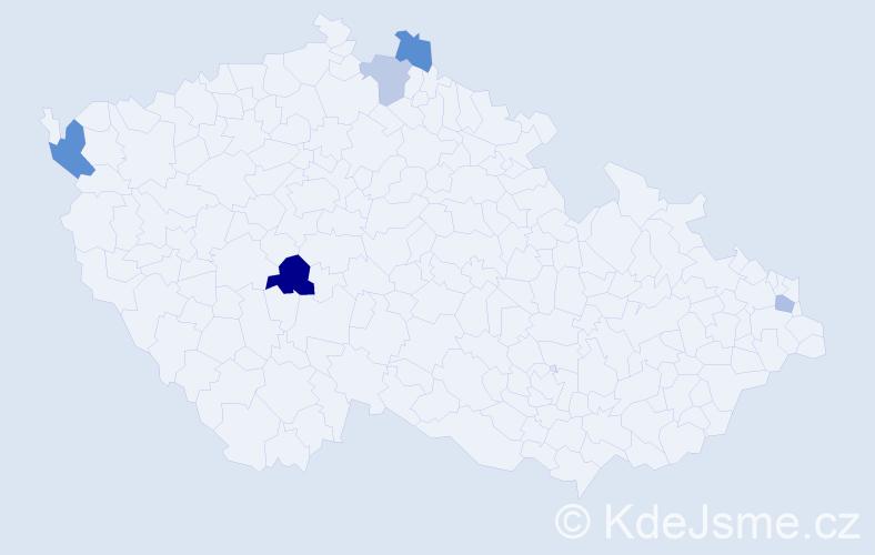 Příjmení: 'Domian', počet výskytů 7 v celé ČR