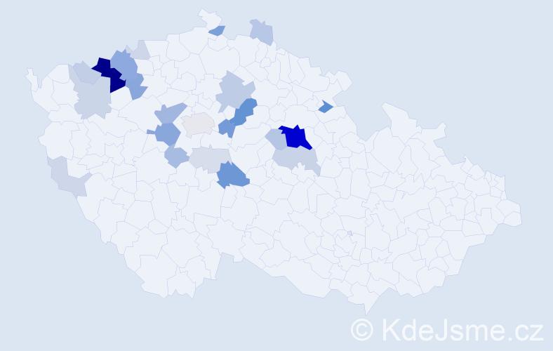 Příjmení: 'Kňavová', počet výskytů 92 v celé ČR