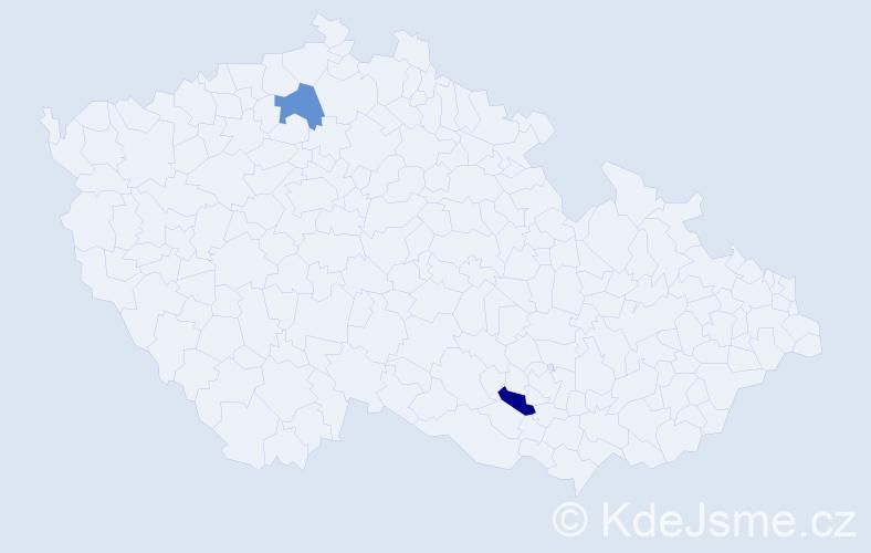 Příjmení: 'Gacova', počet výskytů 2 v celé ČR