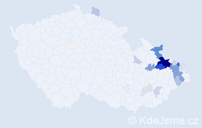 Příjmení: 'Gřešková', počet výskytů 83 v celé ČR