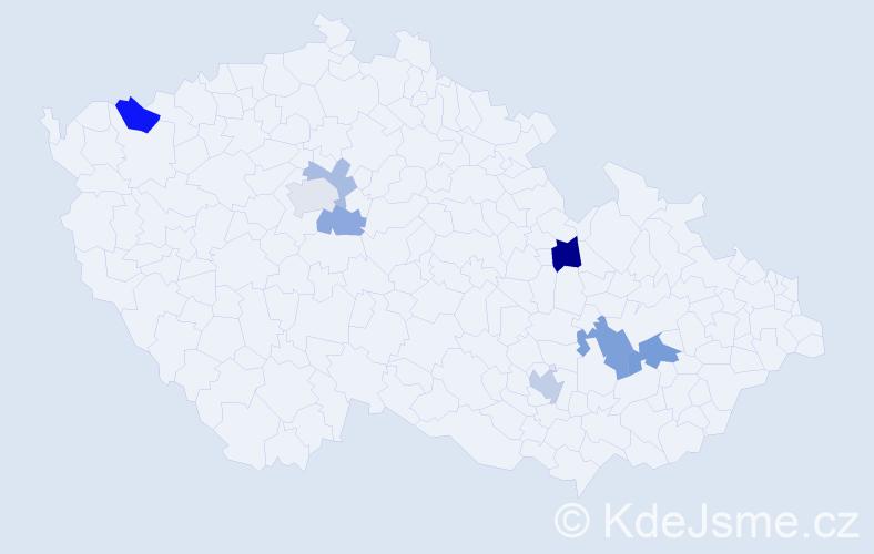 Příjmení: 'Kašinová', počet výskytů 14 v celé ČR