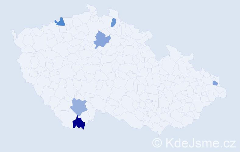 Příjmení: 'Jánošiková', počet výskytů 6 v celé ČR