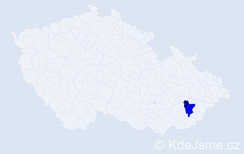 Příjmení: 'Čuřillová', počet výskytů 4 v celé ČR
