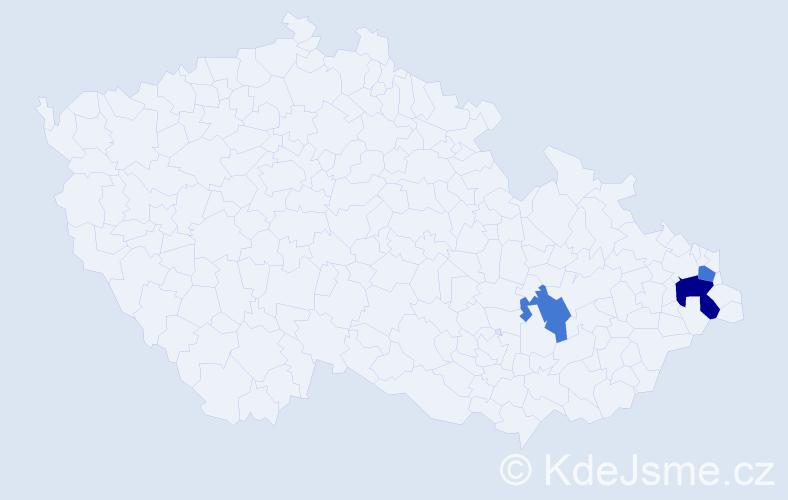 Příjmení: 'Husániková', počet výskytů 4 v celé ČR