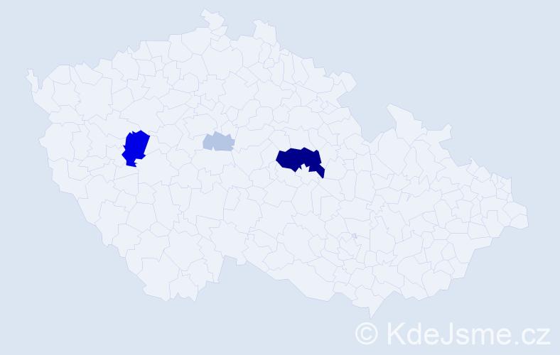 Příjmení: 'Celundová', počet výskytů 18 v celé ČR