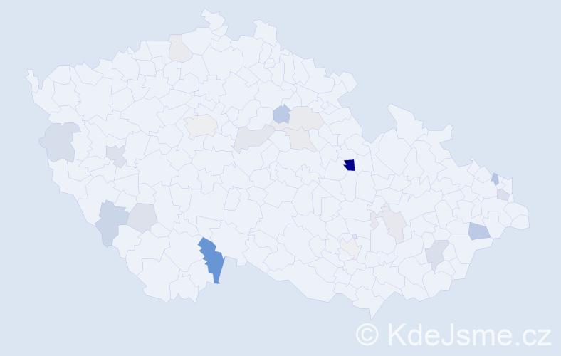Příjmení: 'Honl', počet výskytů 38 v celé ČR