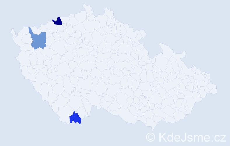 Příjmení: 'Gučík', počet výskytů 6 v celé ČR