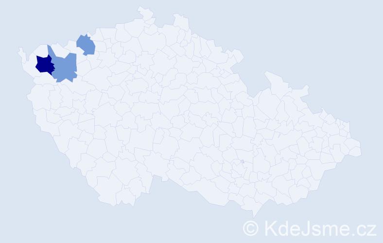 """Příjmení: '""""De Stefanisová""""', počet výskytů 5 v celé ČR"""