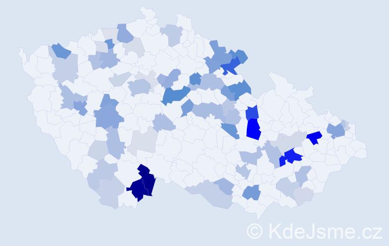 Příjmení: 'Herzogová', počet výskytů 205 v celé ČR
