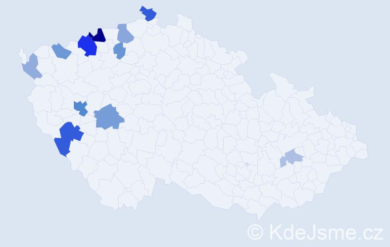Příjmení: 'Čapíková', počet výskytů 28 v celé ČR