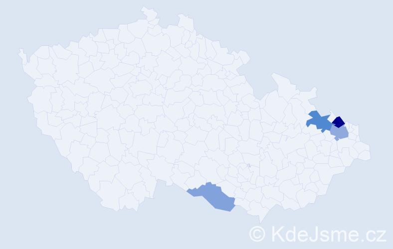 Příjmení: 'Bizon', počet výskytů 7 v celé ČR