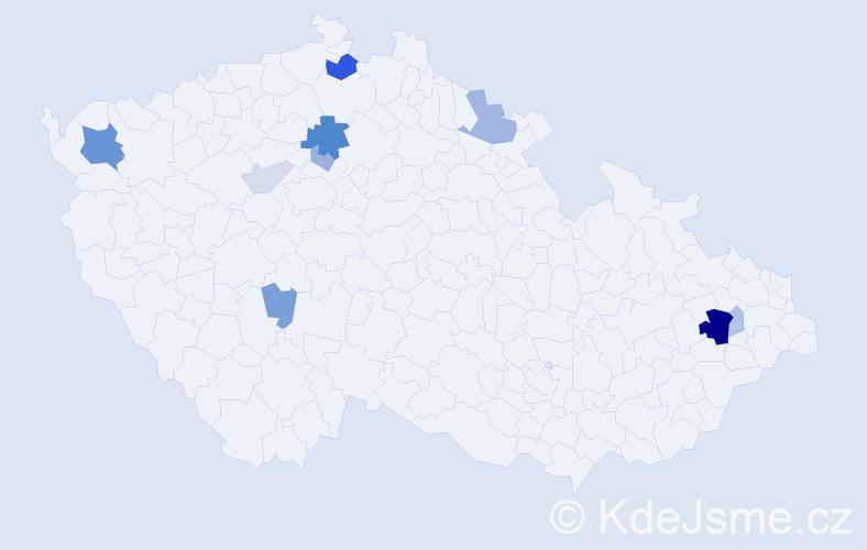 Příjmení: 'Kozúbek', počet výskytů 27 v celé ČR
