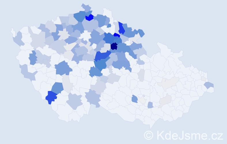 Příjmení: 'Kout', počet výskytů 509 v celé ČR