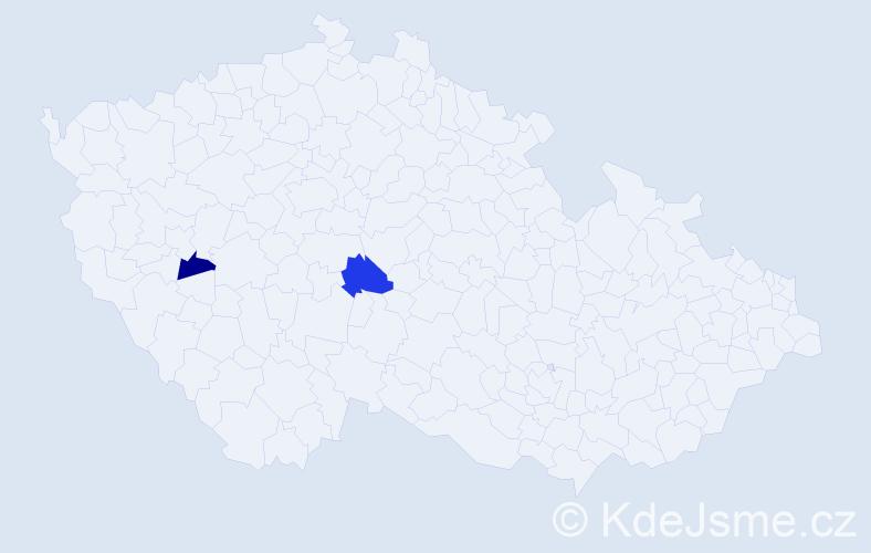 Příjmení: 'Irionová', počet výskytů 5 v celé ČR