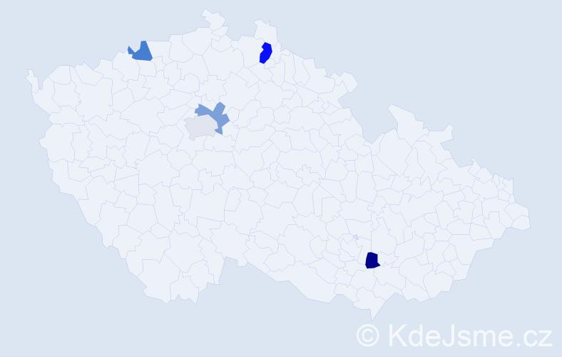 Příjmení: 'Chomča', počet výskytů 6 v celé ČR