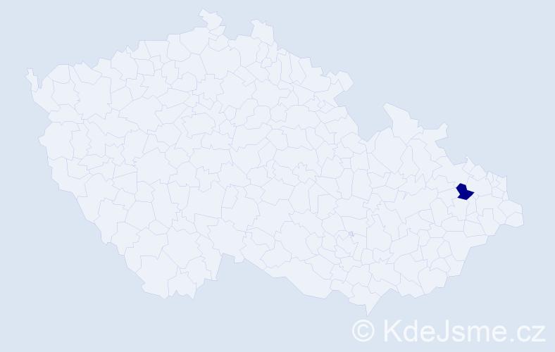 """Příjmení: '""""Kaandorp Váňová""""', počet výskytů 1 v celé ČR"""