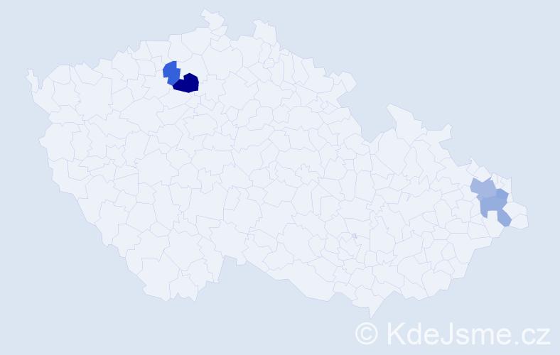 Příjmení: 'Dybala', počet výskytů 7 v celé ČR