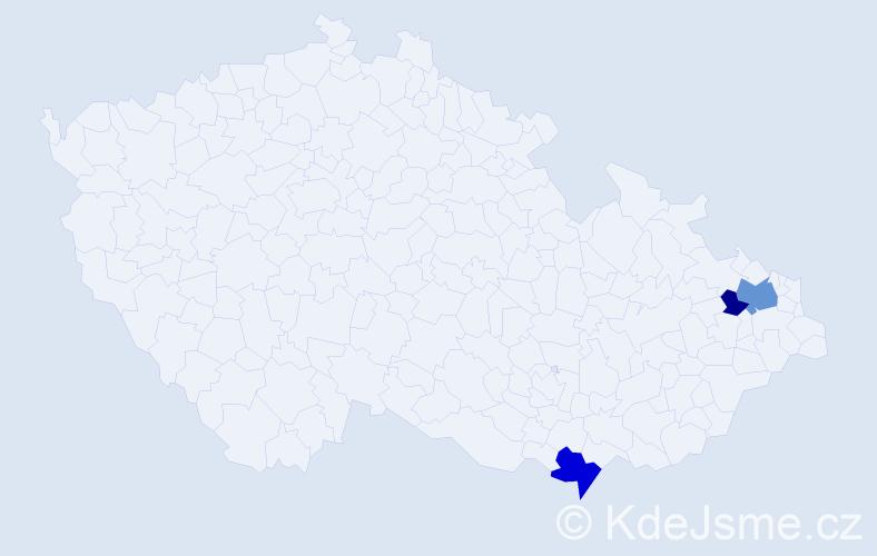 Příjmení: 'Čoma', počet výskytů 6 v celé ČR