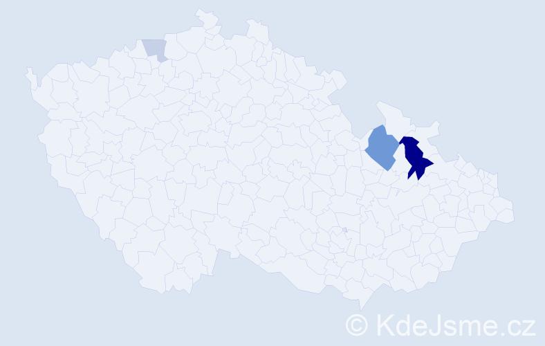 Příjmení: 'Cojocarová', počet výskytů 9 v celé ČR