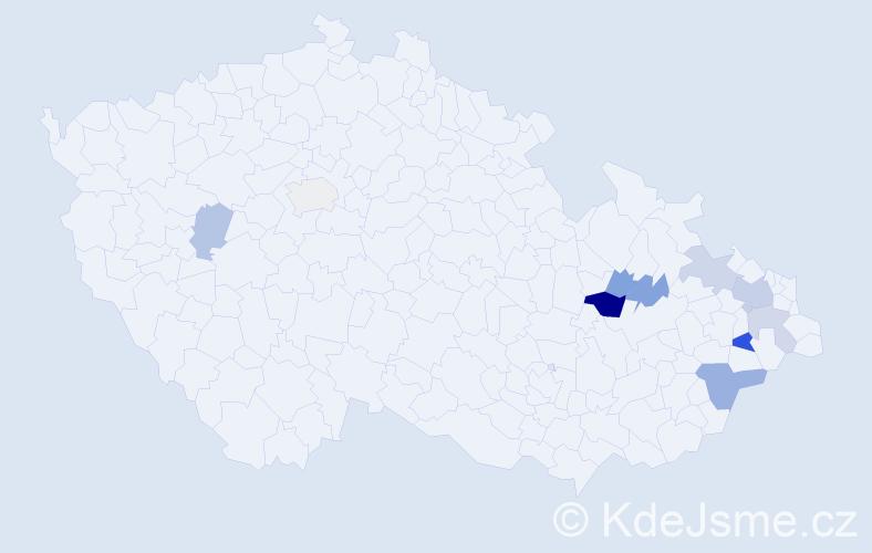 Příjmení: 'Knybelová', počet výskytů 17 v celé ČR