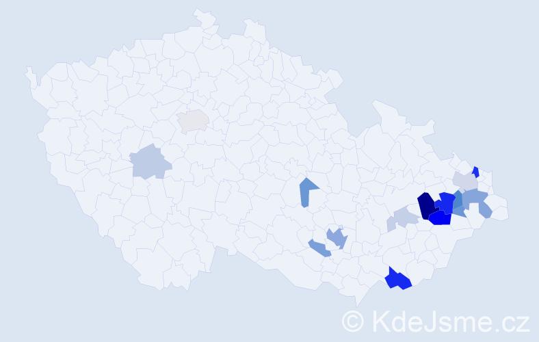 Příjmení: 'Kalichová', počet výskytů 44 v celé ČR