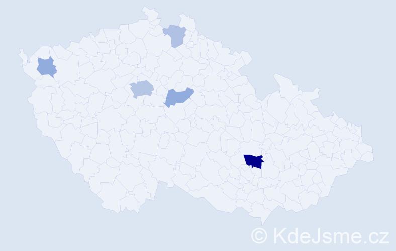 Příjmení: 'Hussein', počet výskytů 13 v celé ČR