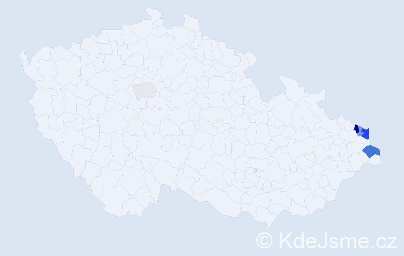 Příjmení: 'Galmusová', počet výskytů 9 v celé ČR