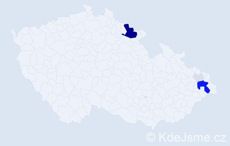 Příjmení: 'Kudlej', počet výskytů 15 v celé ČR