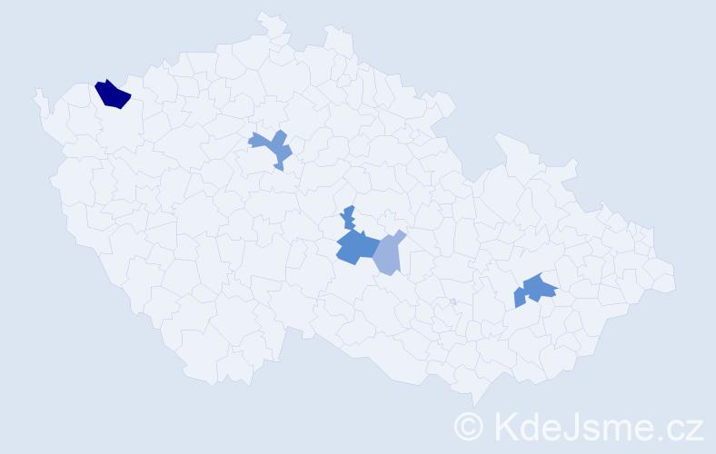 Příjmení: 'Bunčo', počet výskytů 15 v celé ČR