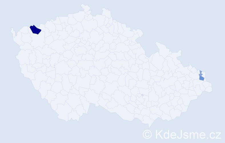 Příjmení: 'Aksu', počet výskytů 7 v celé ČR
