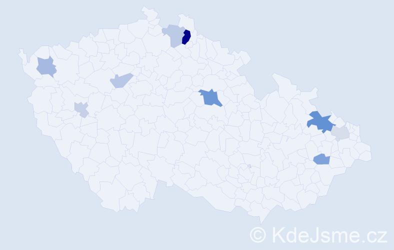 Příjmení: 'Česla', počet výskytů 17 v celé ČR