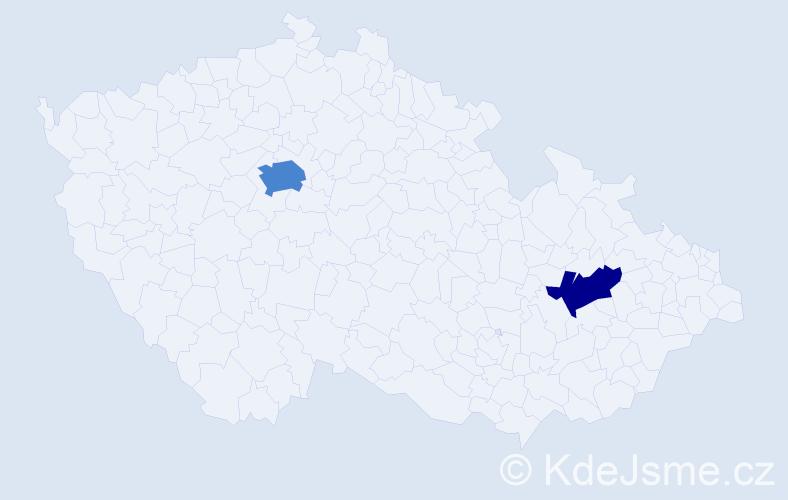 Příjmení: 'Gaar', počet výskytů 4 v celé ČR