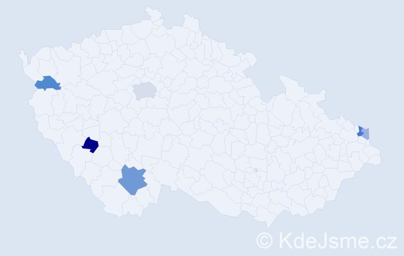 Příjmení: 'Kapinová', počet výskytů 11 v celé ČR