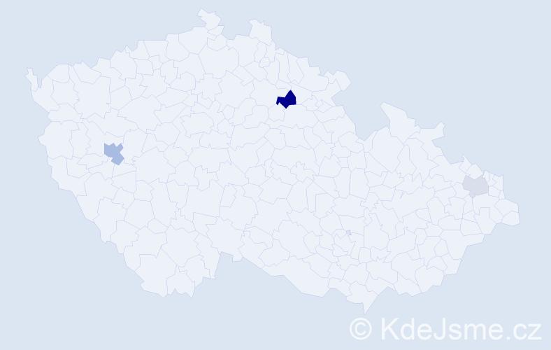 Příjmení: 'Fileková', počet výskytů 5 v celé ČR