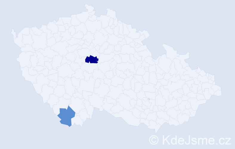 Příjmení: 'Ihnačák', počet výskytů 4 v celé ČR