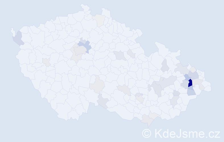 Příjmení: 'Hykel', počet výskytů 178 v celé ČR
