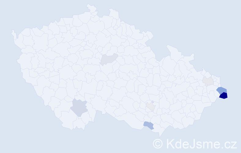 Příjmení: 'Dyrčík', počet výskytů 40 v celé ČR