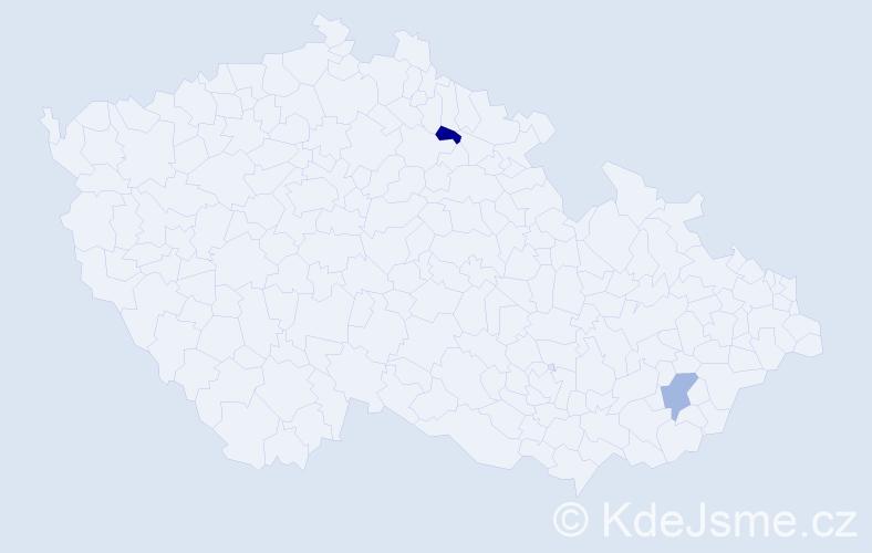 Příjmení: 'Lamce', počet výskytů 2 v celé ČR