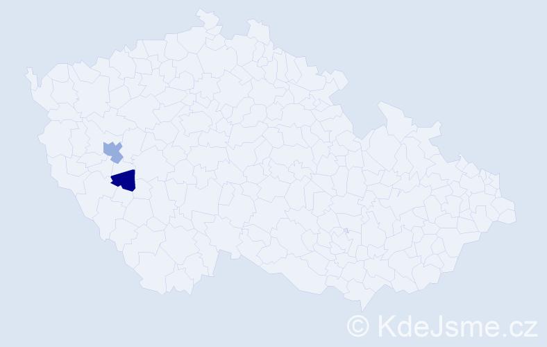 Příjmení: 'Baklažková', počet výskytů 3 v celé ČR