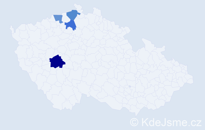 Příjmení: 'Cserbová', počet výskytů 5 v celé ČR