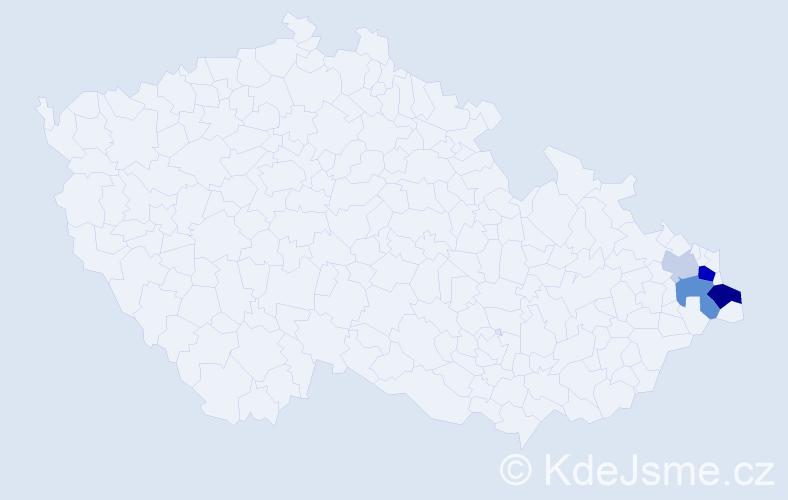 Příjmení: 'Dyrdová', počet výskytů 10 v celé ČR