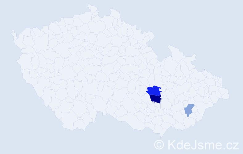Příjmení: 'Hádler', počet výskytů 6 v celé ČR
