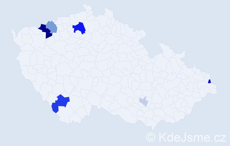 Příjmení: 'Hrubiško', počet výskytů 8 v celé ČR