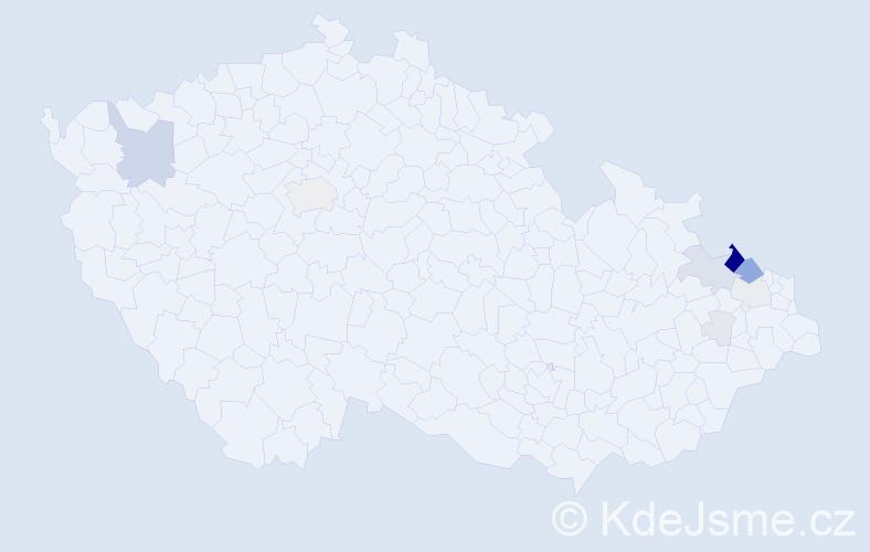 Příjmení: 'Gvoždíková', počet výskytů 42 v celé ČR