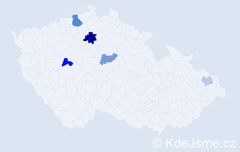 Příjmení: 'Ilaš', počet výskytů 7 v celé ČR